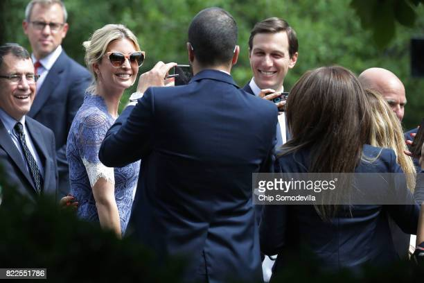 Members of the official Lebanese delegation and journalists make photographs of President Donald Trump's daughter Ivanka Trump and her husband Senior...