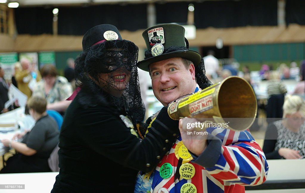 Members of the Official Monster Raving Loony Party attend the count to determine the winner of the byelection on May 2, 2013 in South Shields, England. The byelection was triggered after the former Foreign Secretary David Miliband announced recently that he was resigning from the House of Commons in order to leave Britain and head up the New York based International Rescue Committee humanitarian organisation.