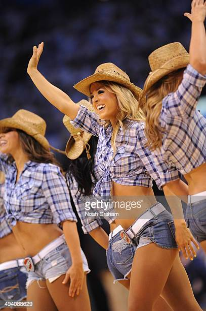Members of the Oklahoma City Thunder dance team performs for the crowd against the San Antonio Spurs in Game Four of the Western Conference Finals...