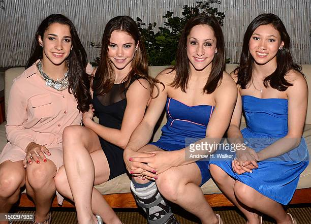 Members of the Olympic gold medalwinning US Women's Gymnastics team Aly Raisman McKayla Maroney Jordyn Wieber and Kyla Ross attend The Cinema Society...