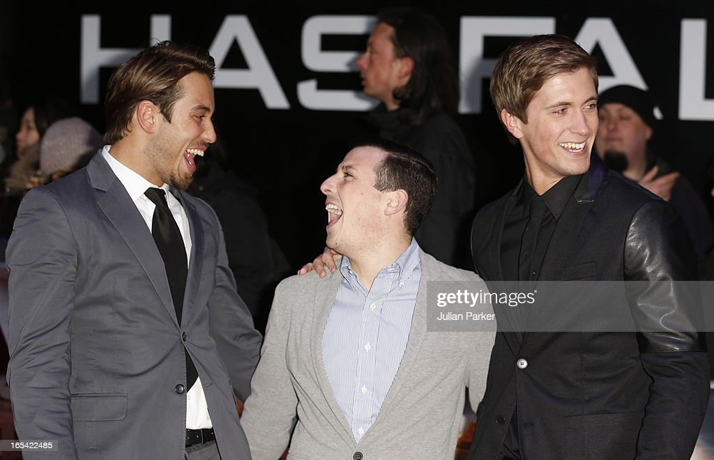 Members of The Only Way is Essex cast James Lock, Chris Drake and Daniel Osborne attend the UK Premiere of 'Olympus Has Fallen' at BFI IMAX on April 3, 2013 in London, England.