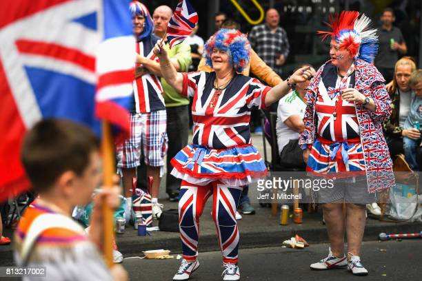 Members of the Orange Order and their supporters take part in the Twelfth of July parade on July 12 2017 in Belfast Northern Ireland The...