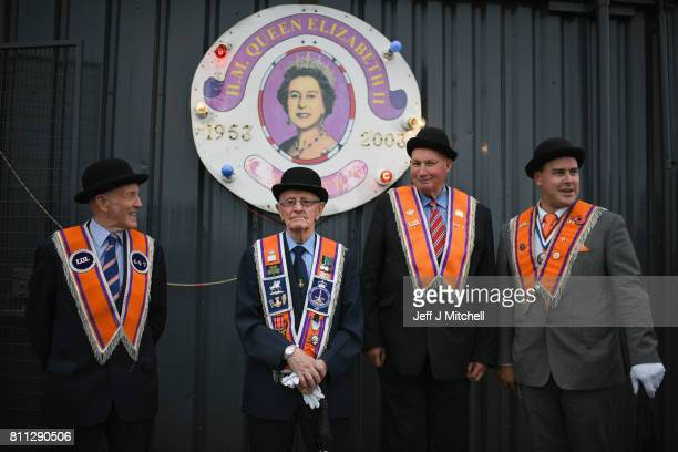 Members of the Orange Order hold a prayer service during their weekly protest at Drumcree Church on July 9 2017 in Drumcree Northern Ireland The...