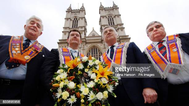 Members of the Orange Order Lord Kilclooney Jeffrey Donaldson MP David Burnside and Michael Phelan outside Westminster Abbey in central London before...