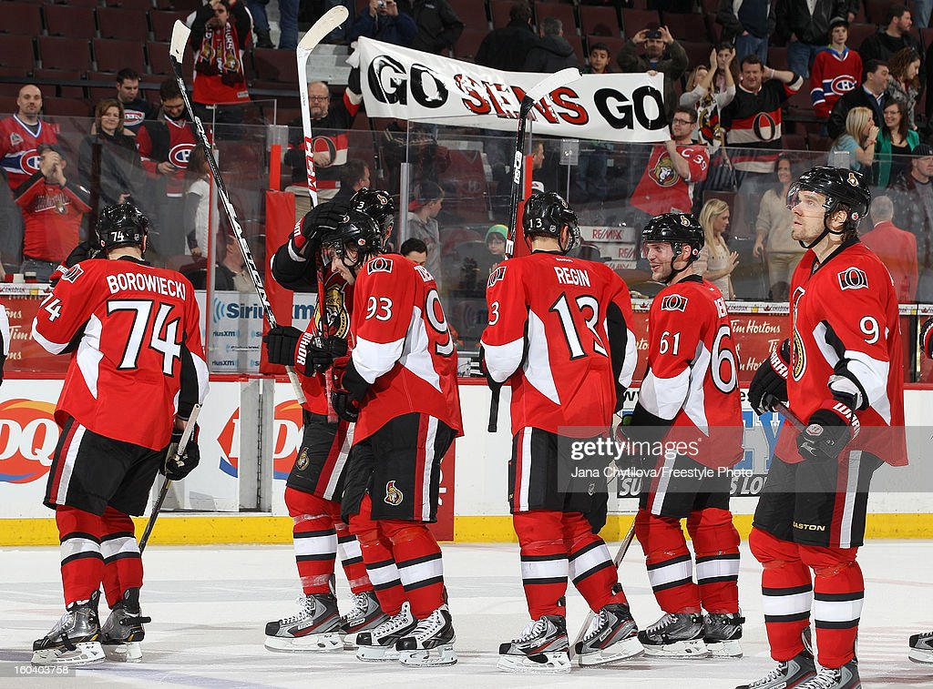 Members of the Ottawa Senators celebrate their win against the Montreal Canadiens during an NHL game at Scotiabank Place on January 30, 2013 in Ottawa, Ontario, Canada.