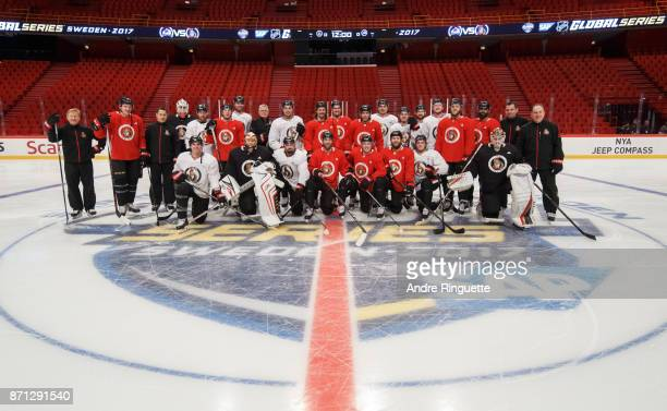 Members of the Ottawa Senators pose for a team photo before practice at Ericsson Globe on November 7 2017 in Stockholm Sweden