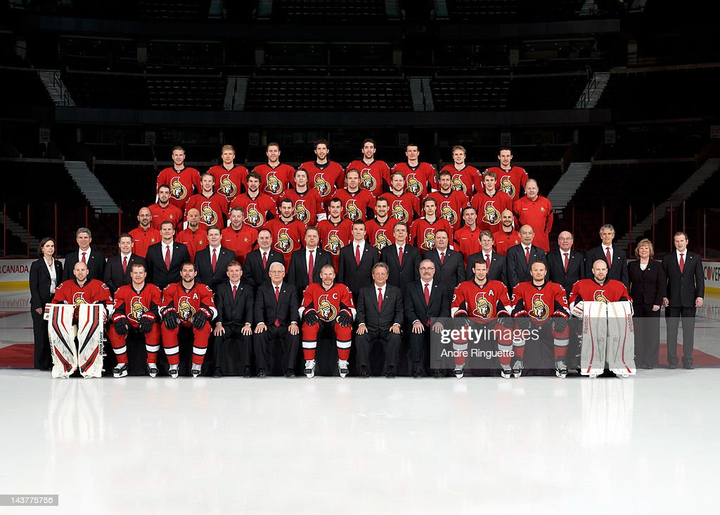 Members of the Ottawa Senators pose for the official 2011-2012 team photograph at Scotiabank Place on April 19, 2012 in Ottawa, Ontario, Canada.