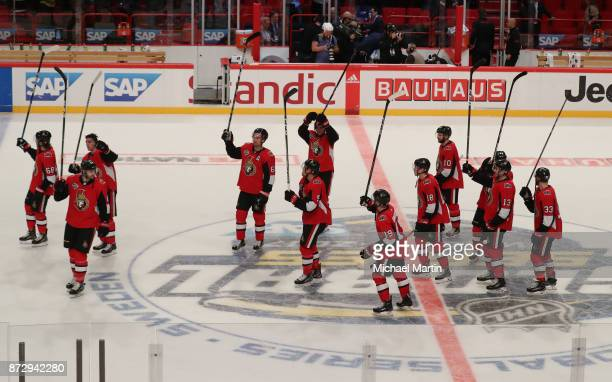 Members of the Ottawa Senators saliute the fans after the victory against the Colorado Avalanche at the Ericsson Globe on November 11 2017 in...