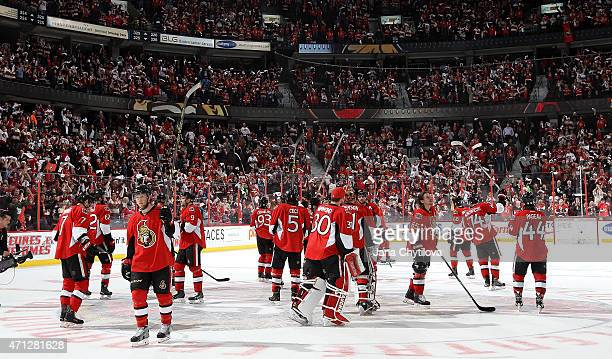 Members of the Ottawa Senators salute their fans following their game and series loss to the Montreal Canadiens in Game Six of the Eastern Conference...