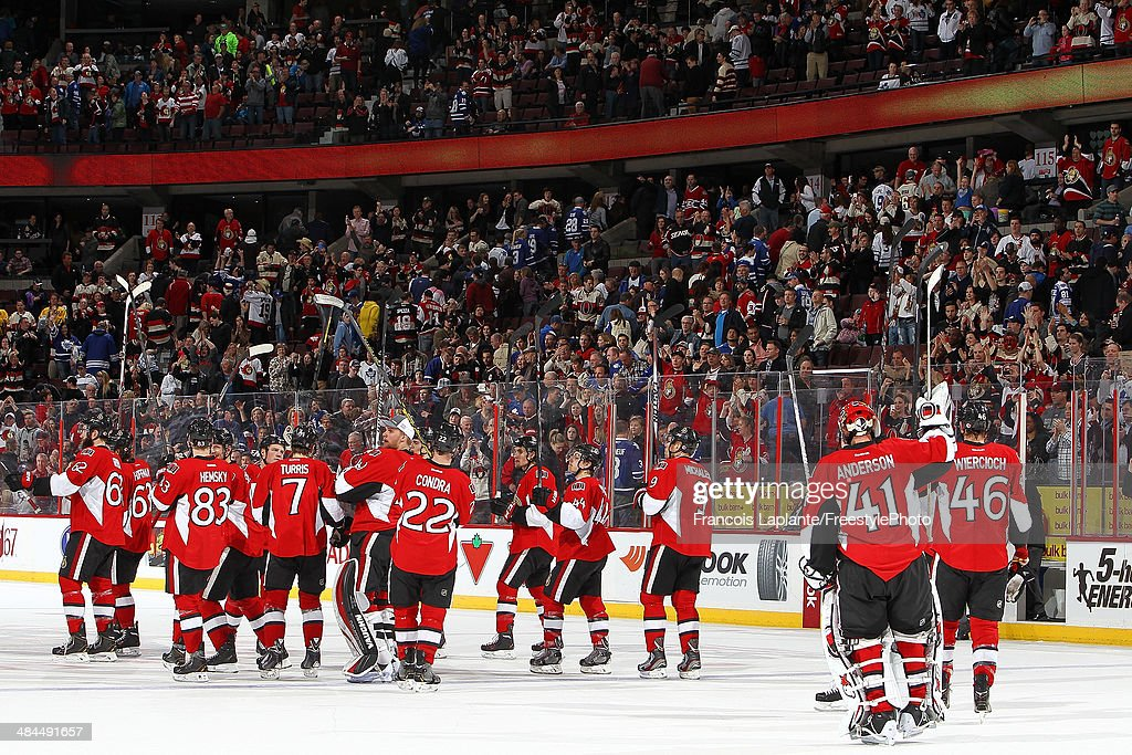 Members of the Ottawa Senators salutes the crowd after their win over the Toronto Maple Leafs during their last home game of the season on April 12, 2014 at Canadian Tire Centre in Ottawa, Ontario, Canada.