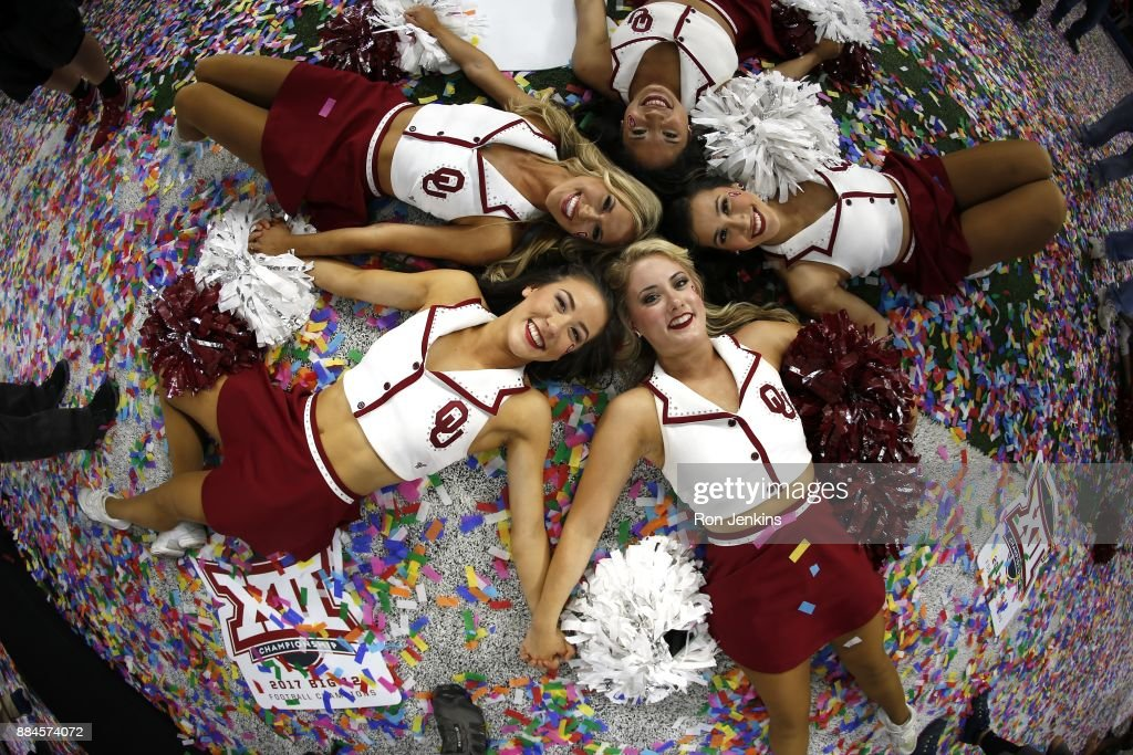 Members of the OU Pom Squad celebrate after the Oklahoma Sooners defeated the TCU Horned Frogs 41-17 in the Big 12 Championship AT&T Stadium on December 2, 2017 in Arlington, Texas.