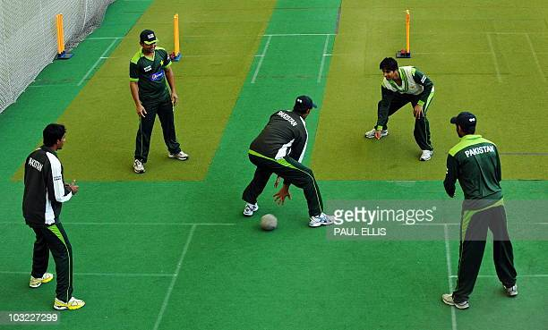 Members of the Pakistan cricket team particpate in a training session in the indoor nets at Edgbaston in Birmingham central England on August 4 2010...