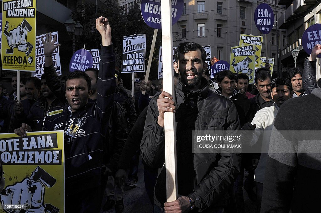Members of the Pakistani community in Athens march on January 19, 2013 following what appears to be a racism-fuelled crime against a 27-year-old Pakistani migrant. Hundreds of Greeks, migrants and other nationals marched peacefully against racism and fascism . Nearly 3,000 people joined the rally that was set up by municipalities, organisations, migrant communities and main opposition party radical leftists Syriza. This week, authorities arrested a 29-year-old firefighter and another Greek man aged 25 for the murder of the 27-year-old Pakistani migrant
