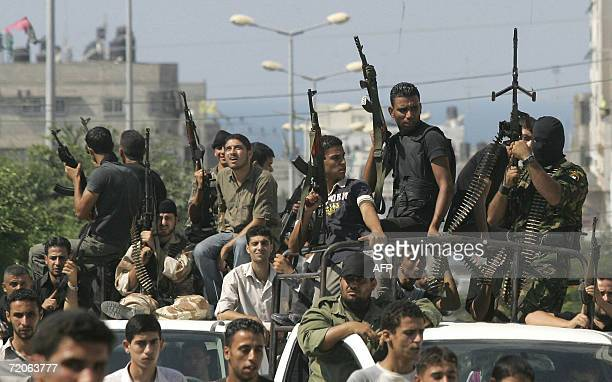 Members of the Palestinian security forces patrol the streets in Gaza City 02 October 2006 following deadly clash yesterday between Palestinian...