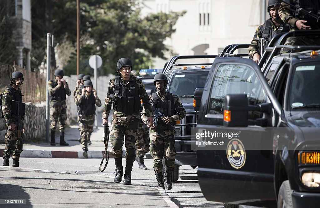 Members of the Palestinian security forces prepare for the official visit of U.S. President Barack Obama to the church of nativity on March 22, 2013 in Bethlehem, West Bank. This is Obama's first visit as president to the region and his itinerary includes meetings with the Palestinian and Israeli leaders as well as a visit to the Church of the Nativity in Bethlehem.
