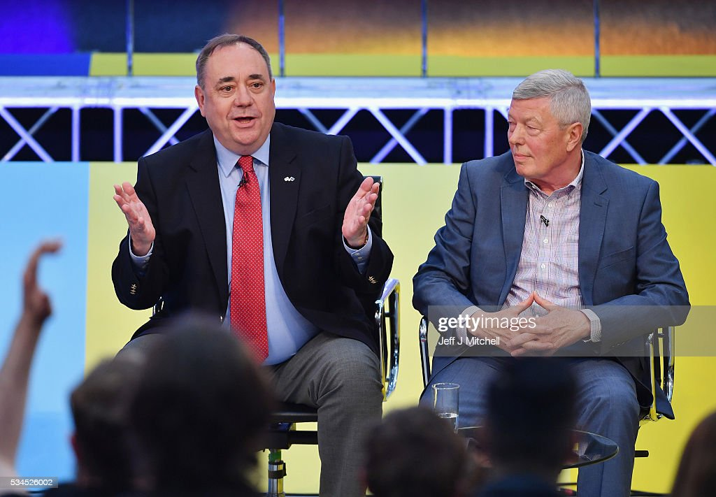 Members of the panel Alex Salmond and Alan Johnson during 'How Should I Vote? - The EU Debate' at The Briggait on May 26, 2016 in Glasgow, Scotland. The BBC's first televised EU referendum debate was held in Glasgow in front of an audience of eighteen to twenty-nine year olds and a panel of SNP's Alex Salmond and Labour's Alan Johnson backing staying in the EU while UKIP MEP Diane James and Conservative Liam Fox arguing to leave.