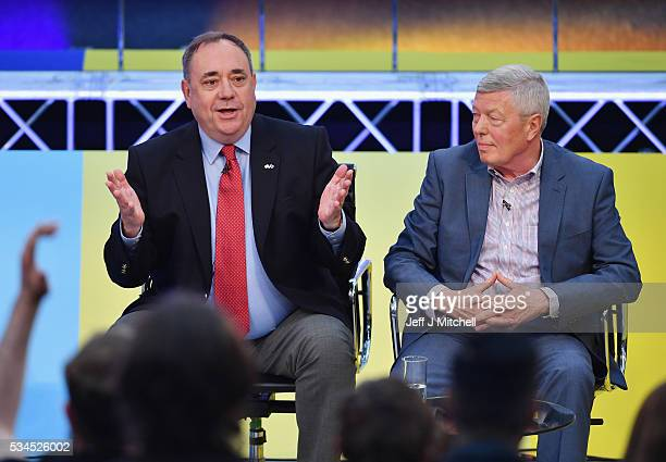 Members of the panel Alex Salmond and Alan Johnson during 'How Should I Vote The EU Debate' at The Briggait on May 26 2016 in Glasgow Scotland The...