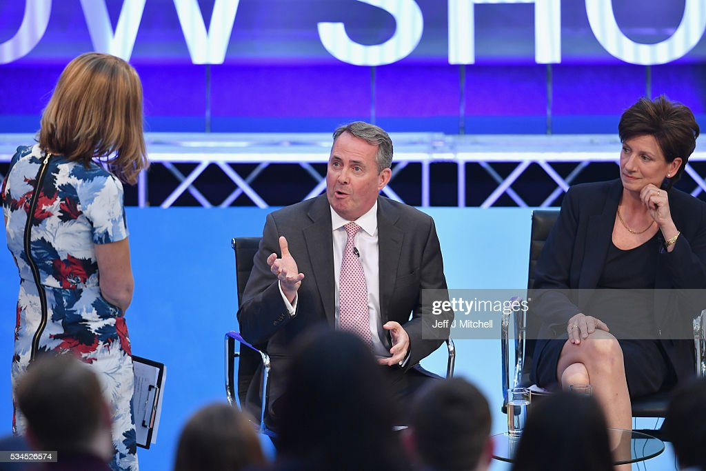 Members of the panel Liam Fox and Diane James during 'How Should I Vote? - The EU Debate'2 at The Briggait on May 26, 2016 in Glasgow, Scotland. The BBC's first televised EU referendum debate was held in Glasgow in front of an audience of eighteen to twenty-nine year olds and a panel of SNP's Alex Salmond and Labour's Alan Johnson backing staying in the EU while UKIP MEP Diane James and Conservative Liam Fox arguing to leave.