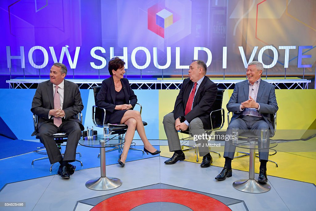 Members of the panel Liam Fox, Diane James, Alex Salmond and Alan Johnson at The Briggait on May 26, 2016 in Glasgow, Scotland. The BBC's first televised EU referendum debate was held in Glasgow in front of an audience of eighteen to twenty-nine year olds and a panel of SNP's Alex Salmond and Labour's Alan Johnson backing staying in the EU while UKIP MEP Diane James and Conservative Liam Fox arguing to leave.