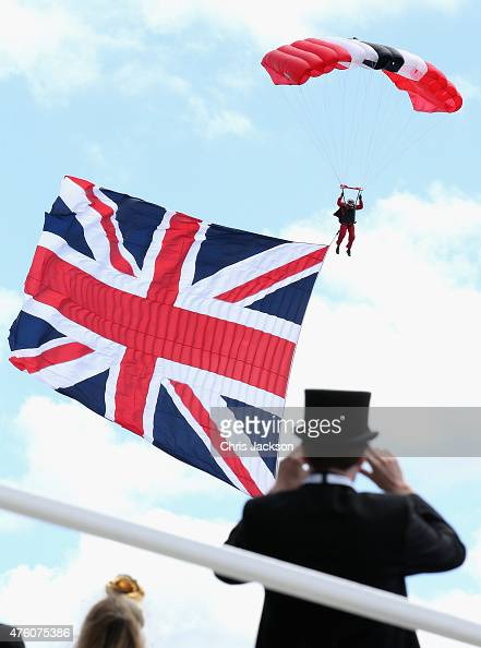 Members of the parachute regiment arrive or the Investec Derby festival at Epsom Racecourse on June 6 2015 in Epsom England