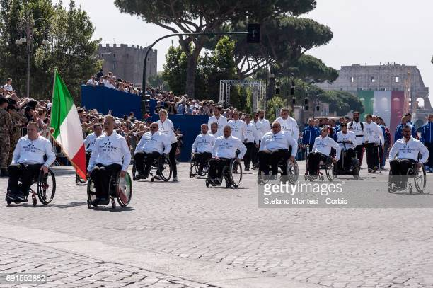 Members of the Paralympic team of the Ministry of Defense attend the military parade during the celebrations of the Italian Republic Day on June 2...