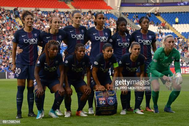Members of the Paris SaintGermain women's football team pose for a photo prior to the UEFA Women's Champions League final football match between Lyon...