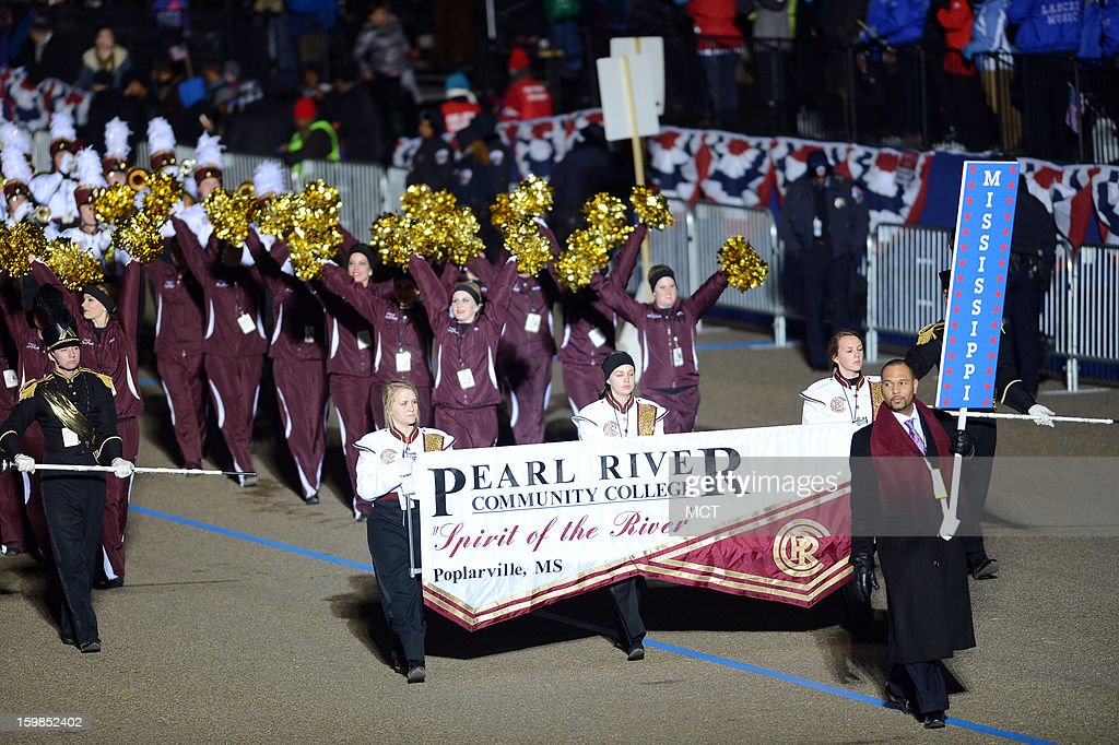 Members of the Pearl River Community College Marching Band, Mississippi, perform in the Inauguration Parade for the second term of U.S. President Barack Obama in Washington, D.C., Monday, January 21, 2013.