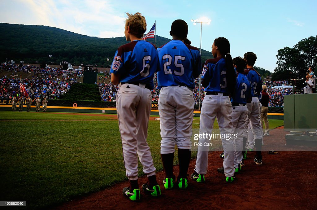 Members of the Pennsylvania team wait to take the field in the first inning against Nevada during their 8-1 loss during the United States division game at the Little League World Series tournament at Lamade Stadium on August 20, 2014 in South Williamsport, Pennsylvania.