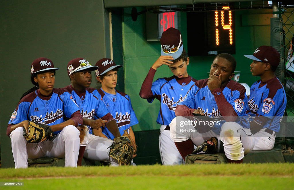Members of the Pennsylvania team wait to take the field in the sixth inning against Nevada during their 8-1 loss during the United States division game at the Little League World Series tournament at Lamade Stadium on August 20, 2014 in South Williamsport, Pennsylvania.