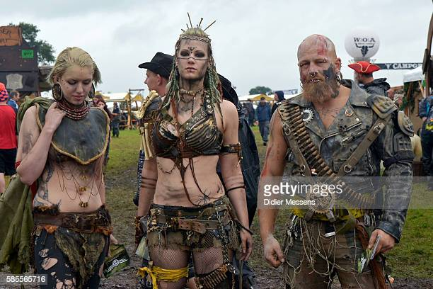 Members of the performance group Wasteland Warrios pose for a picture during the Wacken Open Air festival on August 3 2016 in Wacken Germany Wacken...