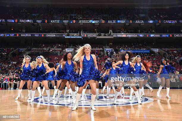 Members of the Philadelphia 76ers dance team perform for the crowd against the Atlanta Hawks at Wells Fargo Center on January 13 2015 in Philadelphia...
