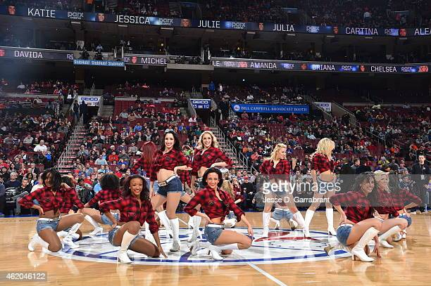 Members of the Philadelphia 76ers dance team perform for the crowd against the Toronto Raptors at Wells Fargo Center on January 23 2015 in...