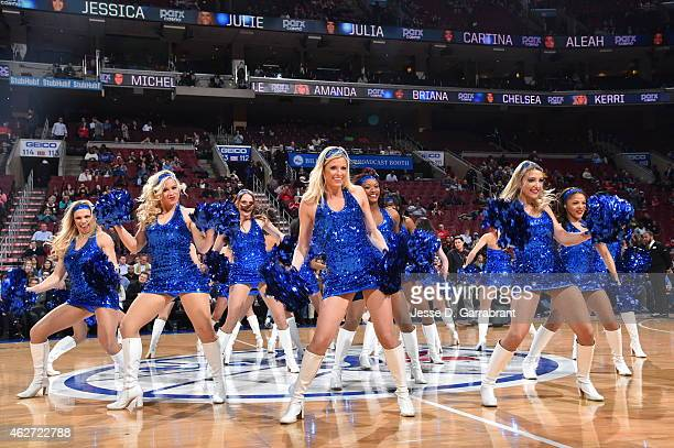 Members of the Philadelphia 76ers dance team perform for the crowd against the Denver Nuggets at Wells Fargo Center on February 3 2015 in...