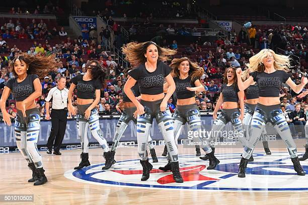 Members of the Philadelphia 76ers Dance Team perform for the crowd during Star Wars night against the Detroit Pistons at Wells Fargo Center on...