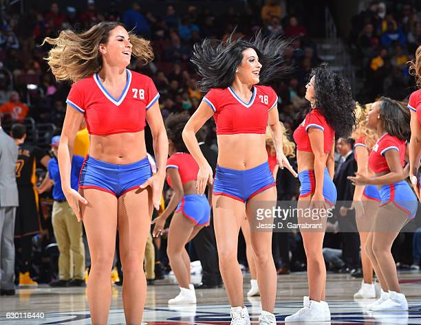 Members of the Philadelphia 76ers dance team perform for the crowd against the Los Angeles Lakers at Wells Fargo Center on December 16 2016 in...