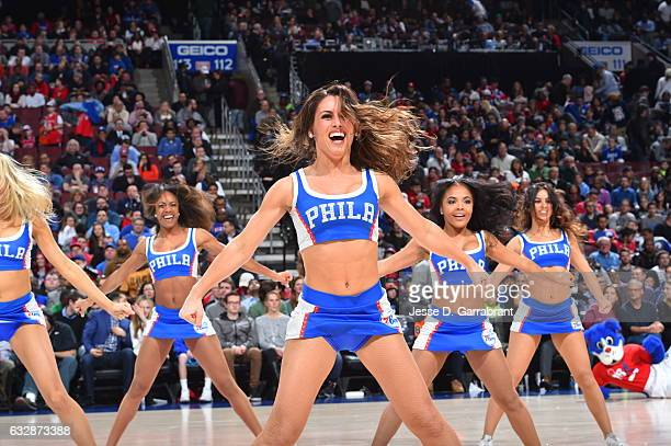 Members of the Philadelphia 76ers dance team perform for the crowd against the Houston Rockets at Wells Fargo Center on January 27 2017 in...