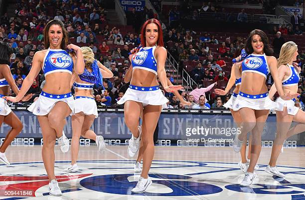 Members of the Philadelphia 76ers dance team performs for the crowd against the Sacramento Kings at Wells Fargo Center on February 10 2016 in...