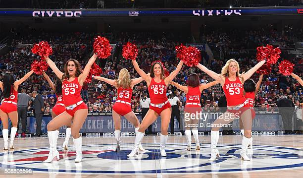 Members of the Philadelphia 76ers dancers perform for the crowd against the Brooklyn Nets at Wells Fargo Center on February 6 2016 in Philadelphia...
