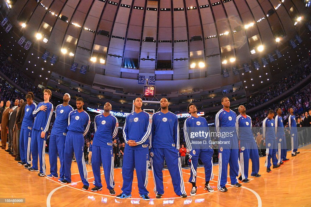 Members of the Philadelphia 76ers look on vs the New York Knicks on November 4, 2012 at Madison Square Garden in New York City.