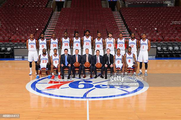 Members of the Philadelphia 76ers pose for a team photograph at Wells Fargo Center on April 15 2015 in Philadelphia Pennsylvania NOTE TO USER User...