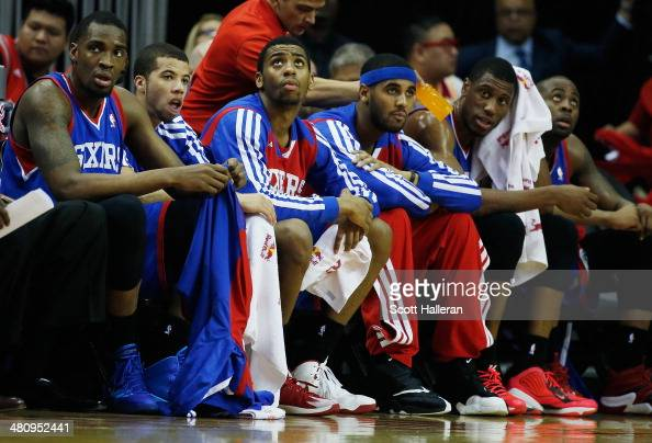 Members of the Philadelphia 76ers wait on the bench during the game against the Houston Rockets at the Toyota Center on March 27 2014 in Houston...