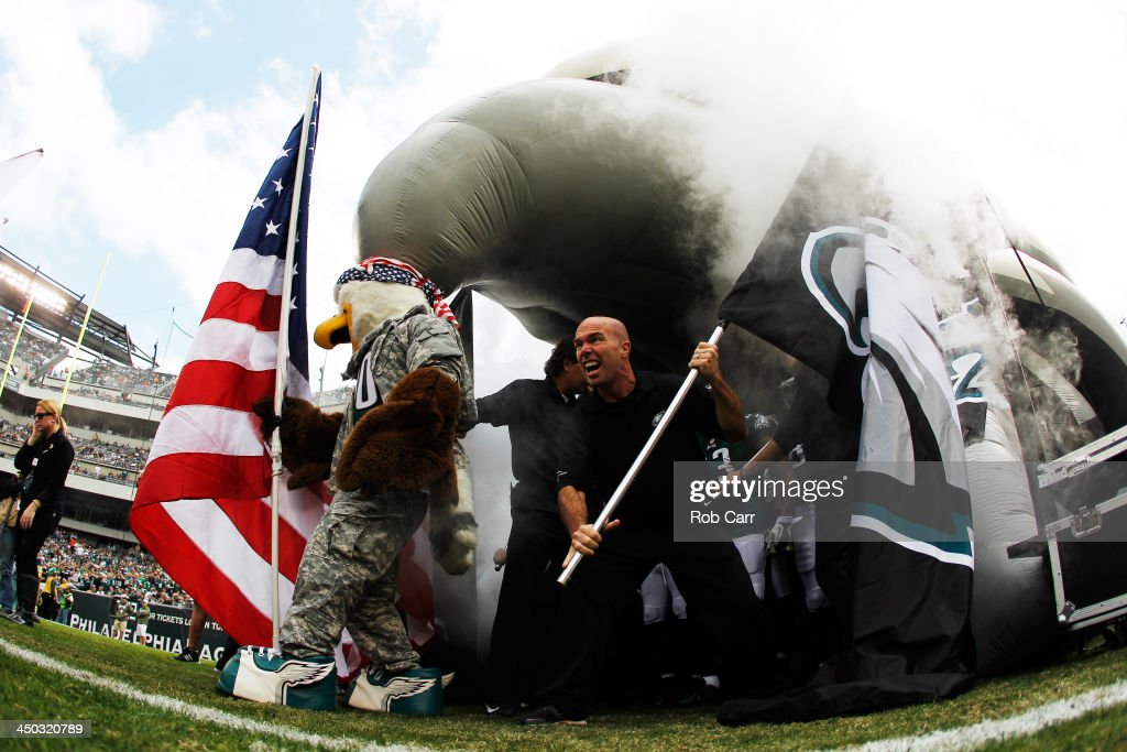 Members of the Philadelphia Eagles get ready to be introduced before the start of the Eagles and Washington Redskins game at Lincoln Financial Field on November 17, 2013 in Philadelphia, Pennsylvania.