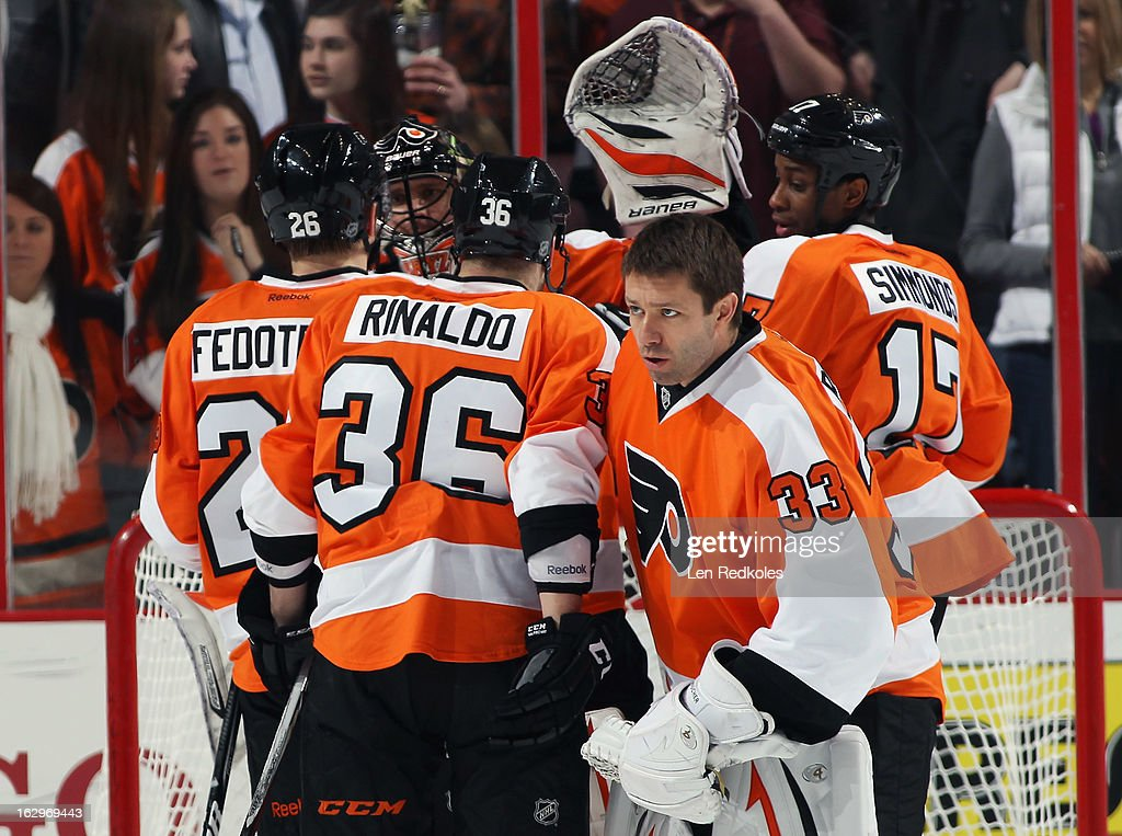 Members of the Philadelphia Flyers celebrate after defeating the Ottawa Senators 2-1 on March 2, 2013 at the Wells Fargo Center in Philadelphia, Pennsylvania.