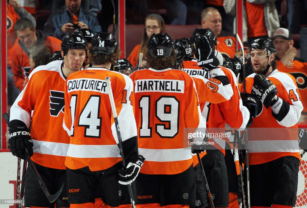 Members of the Philadelphia Flyers celebrate after defeating the New York Islanders 6-3 on March 1, 2012 at the Wells Fargo Center in Philadelphia, Pennsylvania.