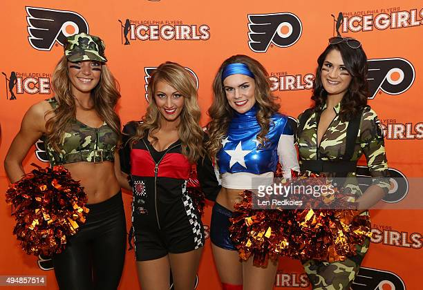 Members of the Philadelphia Flyers Ice Girls pose while dressed for Halloween prior to their game against the New Jersey Devils on October 29 2015 at...