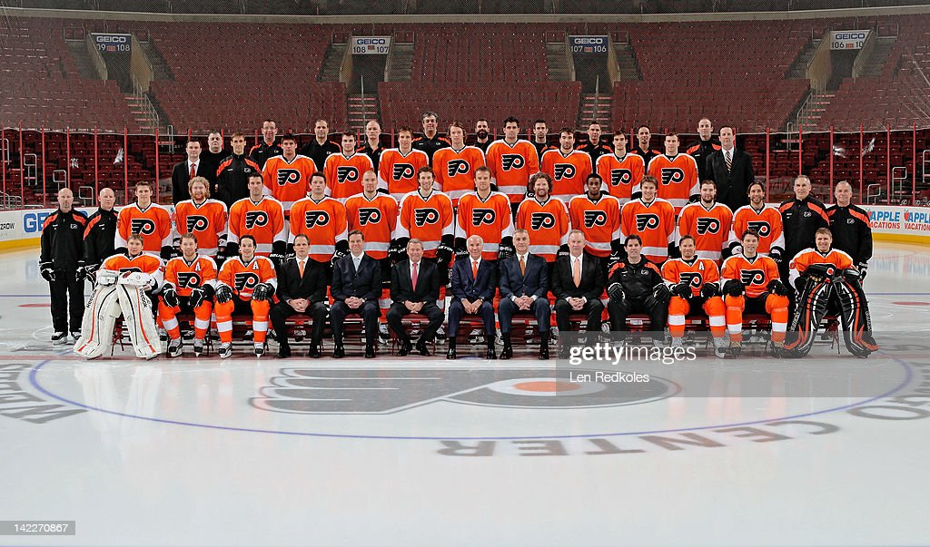 Members of the Philadelphia Flyers pose for the official 2011-2012 team photograph on March 30, 2012 at the Wells Fargo Center in Philadelphia, Pennsylvania.