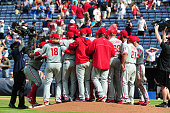 Members of the Philadelphia Phillies celebrate after completing a four pitcher nohitter against the Atlanta Braves at Turner Field on September 1...