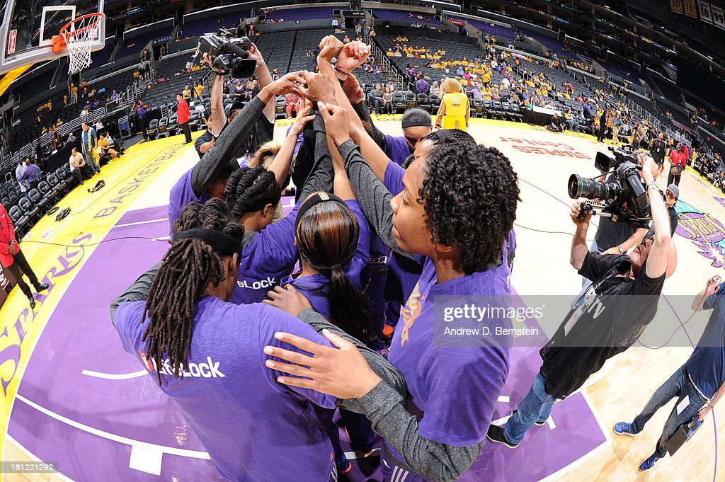 Members of the Phoenix Mercury huddle prior to a game against the Los Angeles Sparks at STAPLES Center on September 19, 2013 in Los Angeles, California.
