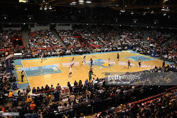 Members of the Phoenix Mercury take on the Chicago Sky during game three of the WNBA Finals at the UIC Pavilion on September 12 2014 in Chicago...