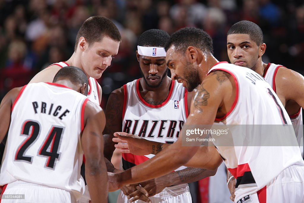Members of the Portland Trail Blazers huddling during a time out against the Minnesota Timberwolves on November 23, 2012 at the Rose Garden Arena in Portland, Oregon.